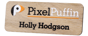 Printed Wooden Name Badges | www.namebadgesinternational.ie